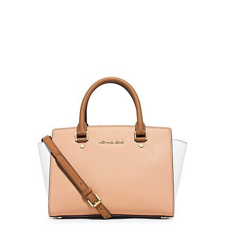 Michael Kors Selma Medium Color-block Saffiano Leather Satchel Nude/white/peanut