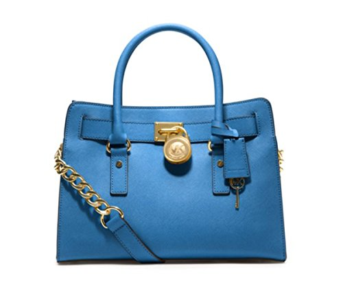 Michael Kors Hamilton Ew Satchel Heritage Blue Leather