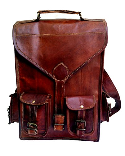 13″ Genuine Leather Vintage Laptop Backpack Shoulder Messenger Bag Briefcase