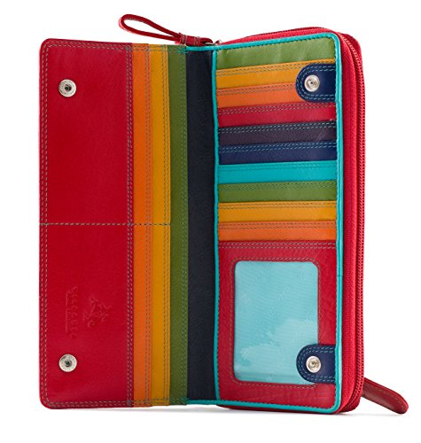 Visconti Spectrum 35 Multi Color Ladies Soft Leather Checkbook Wallet And Purse 7.5″ x 3.5″ x 1″
