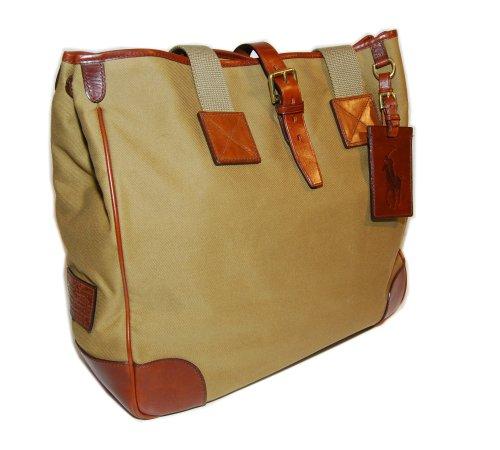 Polo Ralph Lauren Mens Womens Vintage Canvas Leather Brown Tan Tote Bag Handbag