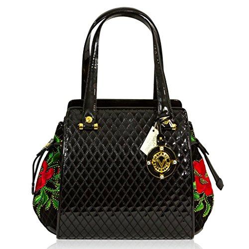 Valentino Orlandi Italian Designer Black Quilted Leather Bucket Bag w/ Roses