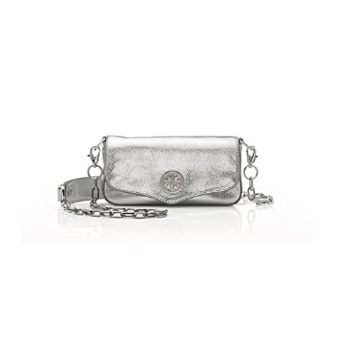 Tory Burch Logo Crossbody Classic Leather Mini Bag Convertible Clutch, Silver Cross-body Bag
