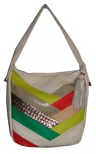 Elliott Lucca Women's Narrillos Style Handbag, White Accented Colors