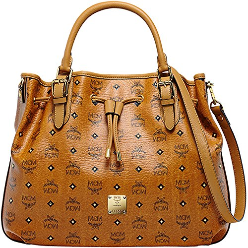 2015 SS MCM Authentic Gold Visetos Medium Draw String Bag (Cognac – MWD5SVI72CO) – WWW Limited Quantity Special Gift – MCM Authentic Mini Purse
