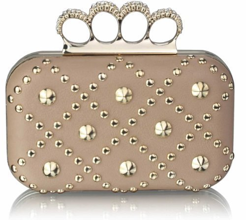 Ladies Nude Padded Clutch Bag Gold Studs Diamantes Knuckles Skull Rings Evening Bag KCMODE