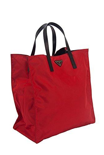 Prada Nylon & Saffiano Leather Large Shopper Tote Bag