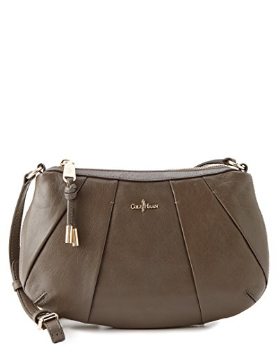 Cole Haan Adele Pleated Leather Crossbody, Gray, One Size