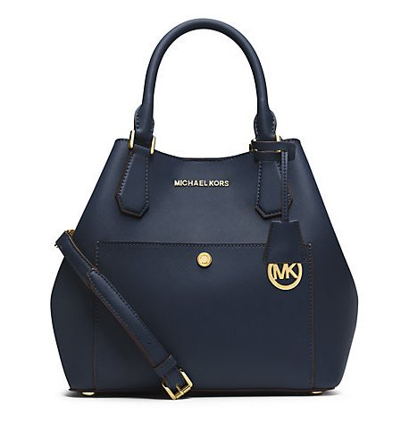 Michael Kors Greenwich LARGE Saffiano Leather Satchel NAVY/HERITAGE BLUE