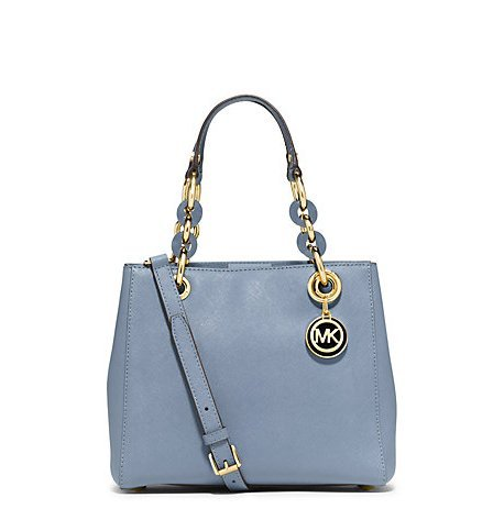 Michael Kors Cynthia Small Leather Satchel in PALE BLUE