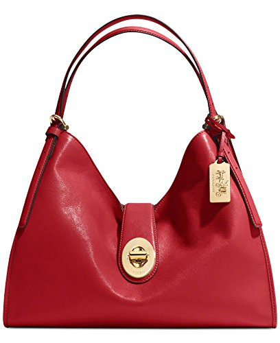Coach Madison Carlyle Shoulder Bag in Leather Light Gold Red Currant