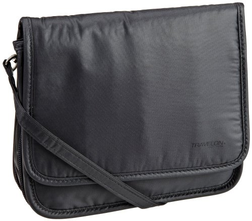 Travelon Safe ID RFID Blocking Ripstop Expandable Cross-Body Bag – Off Black
