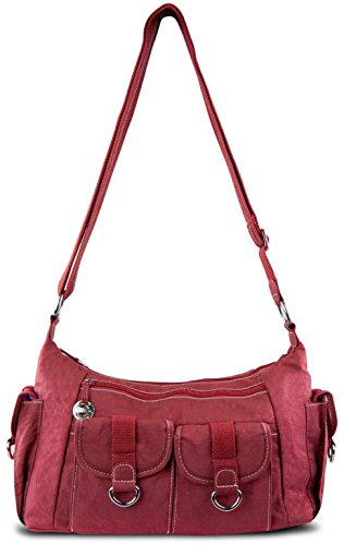 Travelon Nylon Organizer Hobo Bag with Cargo Pockets Berry