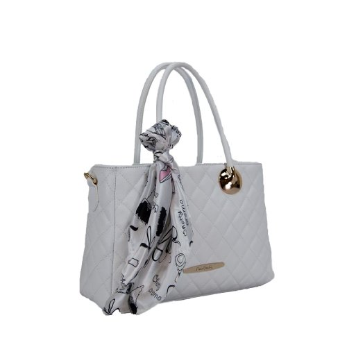 Pierre Cardin PC 1306 BIANCO Made in Italy Leather White Structured Satchel
