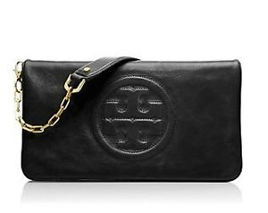 Tory Burch Bombe Reva Leather Clutch Black