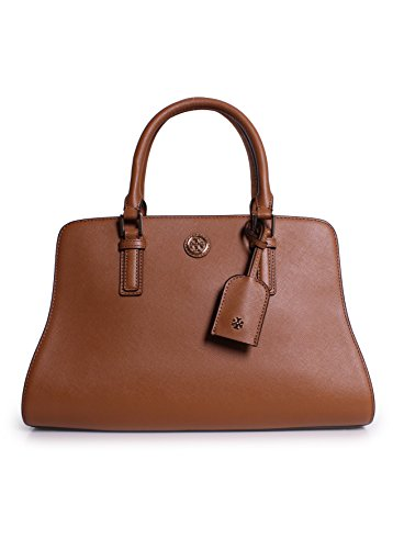 Tory Burch Robinson Curved Leather Satchel in Tiger's Eye