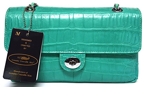 +ThaiPremiumHouse+100% BELLY SKIN GENUINE CROCODILE LEATHER HANDBAG EVENING BAG PURSE CHAIN TURQUOISE GREEN NEW