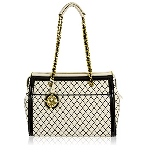 Valentino Orlandi Italian Designer White w/Black Quilting Leather Bag w/Chain