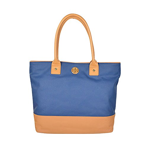 Tory Burch Dipped Canvas Jaden Tote in Night Sky & Aged Vachetta