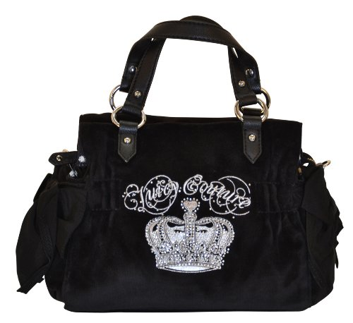 Juicy Couture Sequin Crown Bling Small Daydreamer Handbag Purse Tote Black