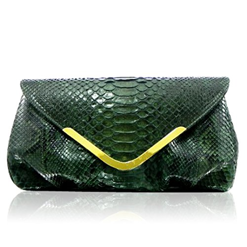 Ghibli Italian Designer Emerald Green Python Leather Gilded Purse Large Clutch