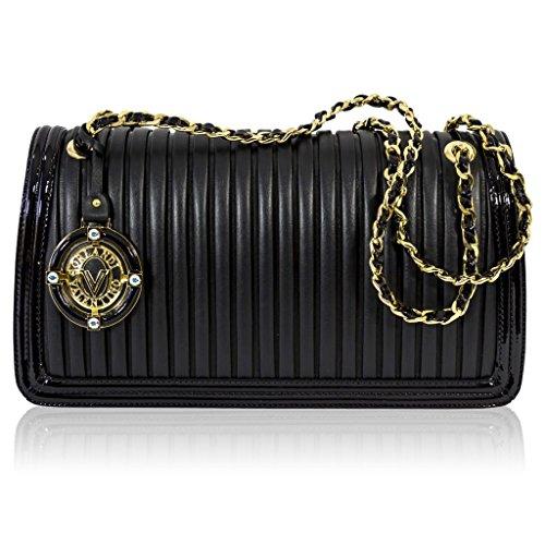 Valentino Orlandi Italian Designer Black Plisse Textured Leather Clutch Bag w/Chain