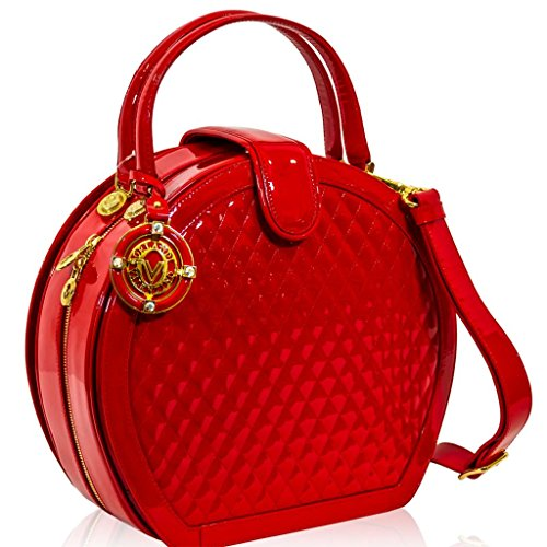 Valentino Orlandi Italian Designer Red Quilted Leather Hard Box Crossbody Bag