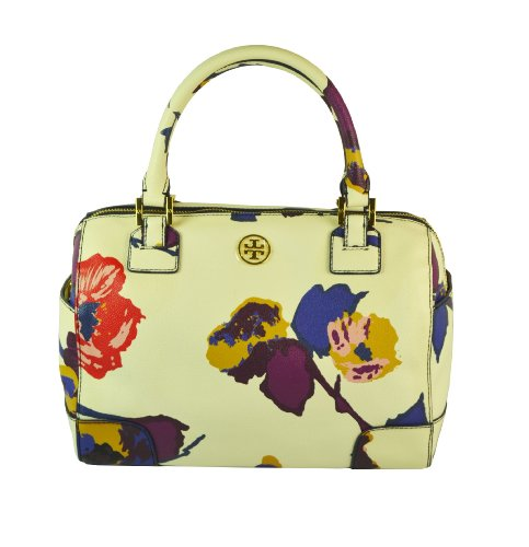 Tory Burch Robinson PVC Canvas Middy Floral Satchel Bag Alpine Snow Fontana J