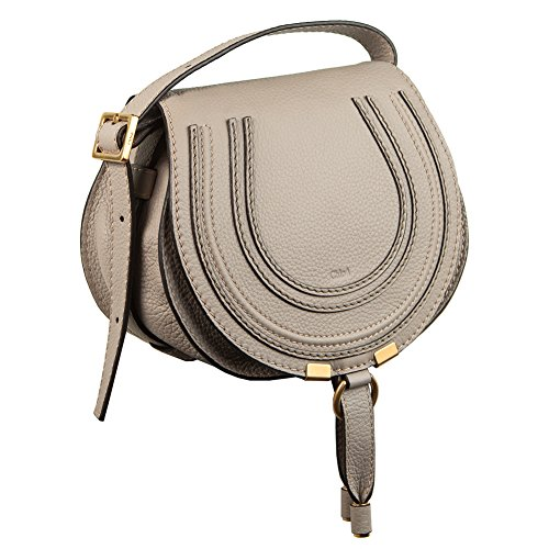 Chloé Marcie small light motty grey leather crossbody bag