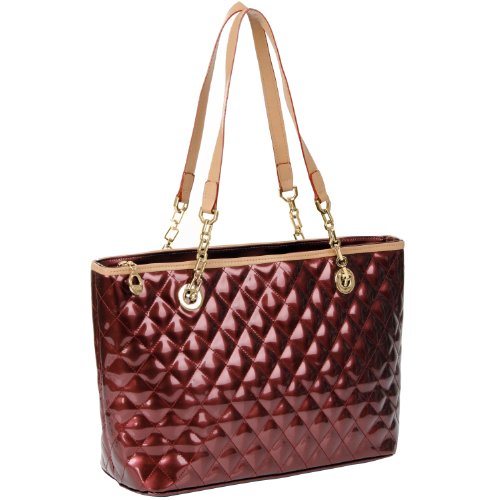 MG Collection LERYN Ruby Red Quilted Faux Patent Leather Office Tote Shoulderbag