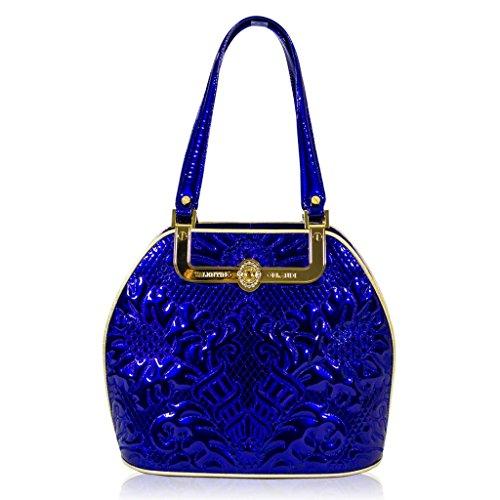 Valentino Orlandi Designer Cobalt Blue Embroidered Leather Gilded Bowling Bag
