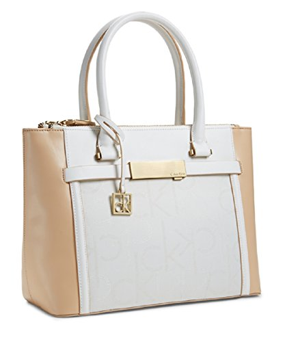 Calvin Klein Womens Addie Double Zip Carryall Tote Handbag Bare