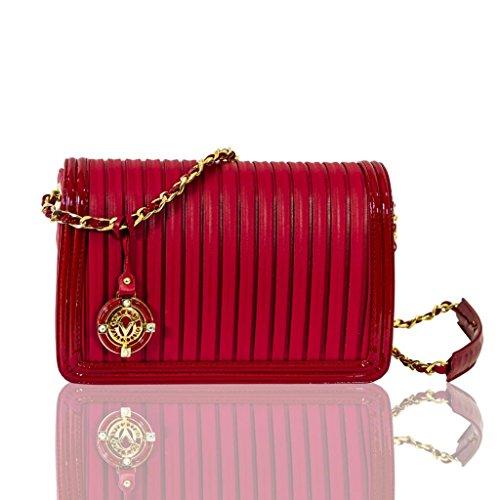 Valentino Orlandi Italian Designer Red Plisse Textured Leather Messenger Bag
