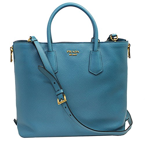 Prada Women's Blue Saffiano Leather Tote Bag W/strap Bn2727