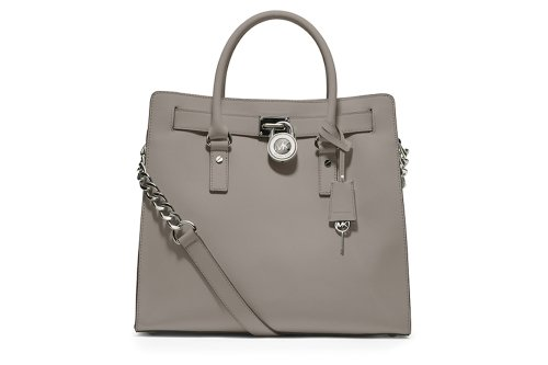 MICHAEL Michael Kors Hamilton Pearl Grey NS Large Leather Tote