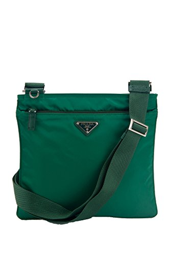 Prada Tessuto & Saffiano Unisex Medium Green Messenger Cross-body Work Travel Bag