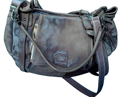 JENCA Women's Super Deluxe Genuine LeatherZip Retro Washed Shoulder Satchel Handbag