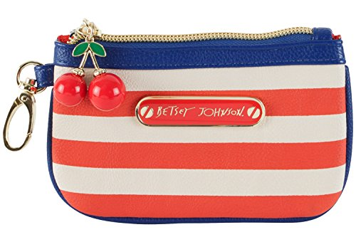 Betsey Johnson Americana Zip Coin Wallet Small Wristlet – Blue