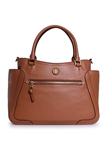 Tory Burch Frances Leather Satchel in Bark