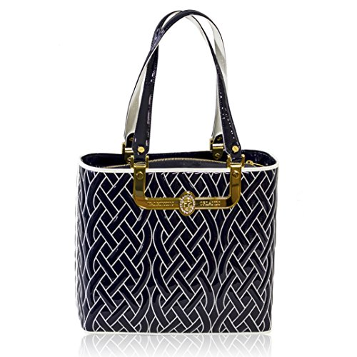 Valentino Orlandi Italian Designer Navy/White Quilted Leather Gilded Tote Bag