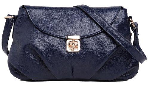 Heshe Fashion Women's Genuine Top Layer Leather Cross Body Shoulder Bag Satchel Handbag Cute Clutch for Ladies