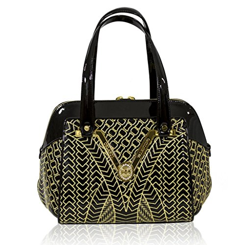 Valentino Orlandi Italian Designer Black W/gold Quilting Leather Gilded Purse Bag