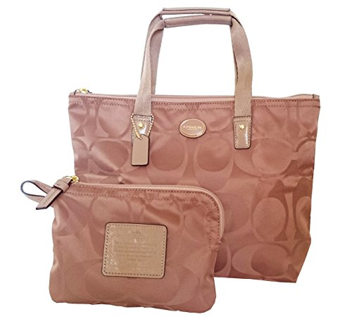 Coach Getaway Signature Nylon Packable Tote Bag 77322 British Tan