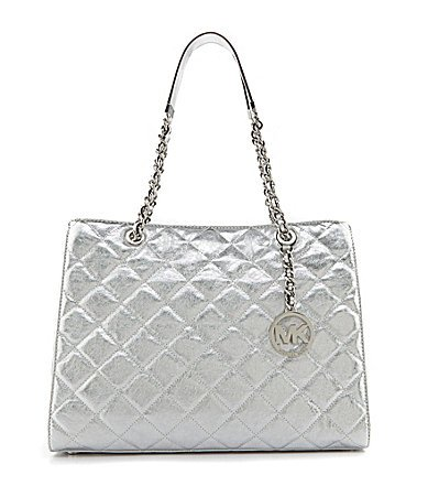 Michael Kors Susannah Large Quilted Leather Silver Shoulder Tote Bag
