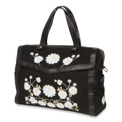 The Bumble Collection Embossed Flora Satchel Diaper Bag in Black