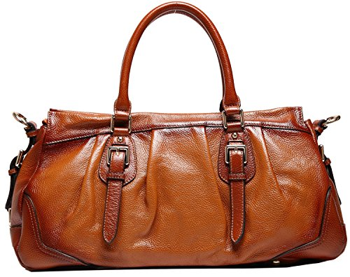 Heshe Luxury Sorrel Cowhide Top Layer Soft Leather Top-handle Shoulder Luggage Cross Body Handbag