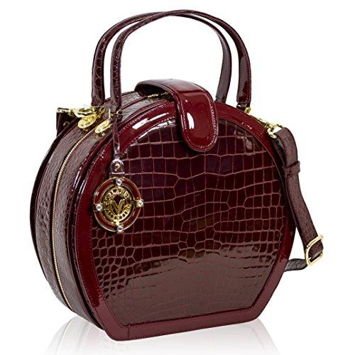 Valentino Orlandi Italian Designer Burgundy Croc Leather Purse Hard Box Bag