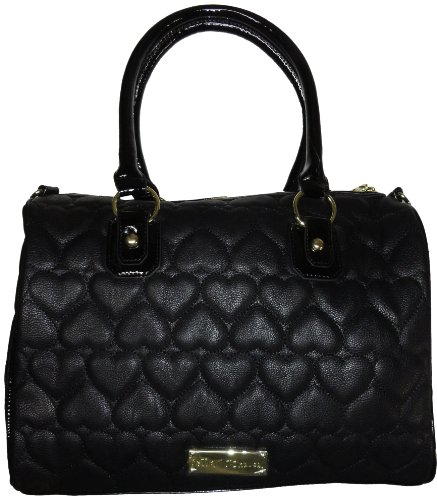 Betsey Johnson Women's Large Satchel Style Handbag, Black Puffy Hearts