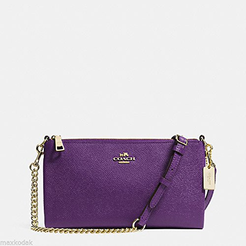 New Coach 52385 Embossed Textured Leather Kylie Crossbody Handbag in Violet