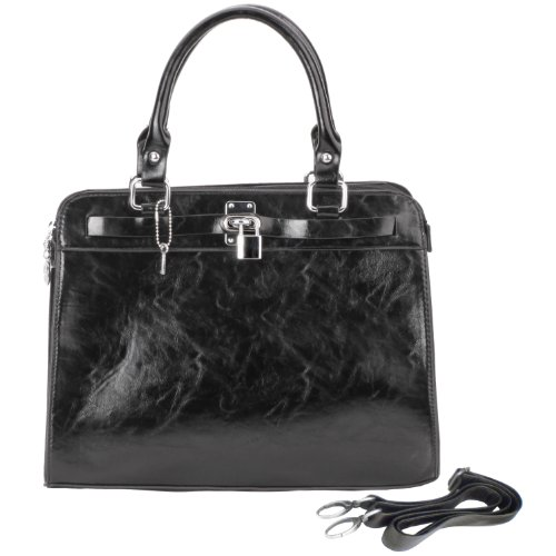MG Collection LACAYLA Black Padlock Office Tote Style Satchel Handbag